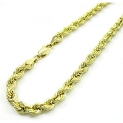 10k Yellow Gold Rope Bracelet 7 Inch 4mm