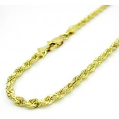 10k Yellow Gold Solid Rope Bracelet 8 Inch 2.25mm