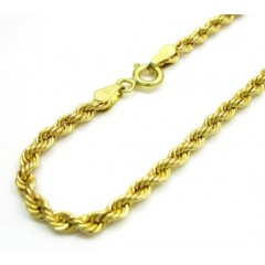 10k Yellow Gold Hollow Rope Unisex Bracelet 7 Inch 2.70mm