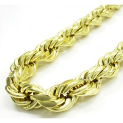 10k Yellow Gold Thick Rope Chain 24-40 Inch 10mm