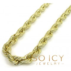 10k Yellow Gold Medium Hollow Rope Chain 20-30 Inch 8mm