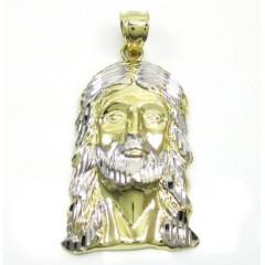 10k Two Tone Gold Diamond Cut Jesus Face Pendant