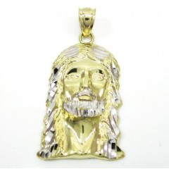 10k Two Tone Gold Diamond Cut Mini Jesus Face Pendant