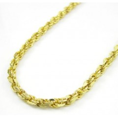 10k Yellow Gold Hollow Fancy Rope Chain 30-36 Inch 3mm