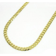 10k Yellow Gold Skinny Cuban Chain 24 Inch 3.2mm