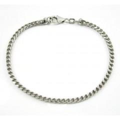 10k White Gold Solid Franco Bracelet 8.5 Inch 3mm