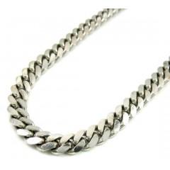 10k White Gold Solid Miami Bracelet 8.50 Inch 5mm