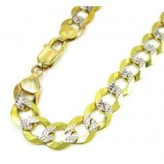 10k Yellow Gold Diamond Cut Cuban Bracelet 9 Inch 9.50mm