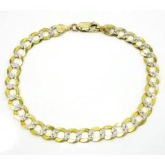 10k Yellow Gold Diamond Cut Cuban Bracelet 8.25 Inch 7.25mm