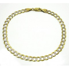 10k Yellow Gold Diamond Cut Cuban Bracelet 8 Inch 5mm