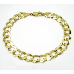 10k Yellow Gold Cuban Bracelet 9.25 Inch 9.85mm
