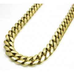 14k Yellow Gold Solid Thick Miami Link Chain 24-30 Inch 8.7mm