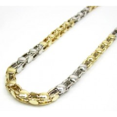14k Two Tone Gold Fancy Box Link Chain 20-24 Inch 4.5mm