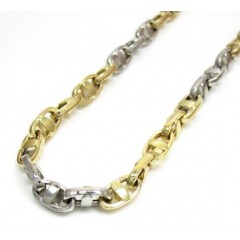 14k Two Tone Gold Fancy Anchor Link Chain 18-24 Inch 4.5mm