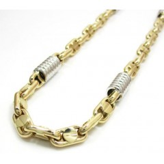 14k Two Tone Gold Fancy Anchor Link Chain 22-24 Inch 5-6mm