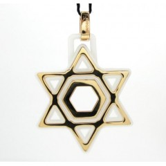 Baraka 18k Rose Gold White Ceramic Jewish Star Of David Pendant