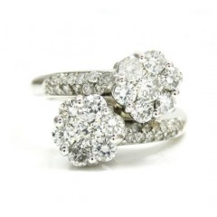 Ladies 14k White Gold Round Diamond Double Cluster Ring 1.20ct