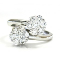 Ladies 14k White Gold Round Diamond Double Cluster Ring 0.90ct