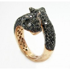 Ladies 14k Rose Gold Black Diamond Double Headed Panther Ring 4.00ct
