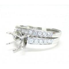 Ladies 18k White Gold Semi Mount Ring Wedding Band Set 1.04ct