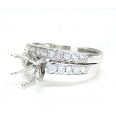 Ladies 18k White Gold Semi Mount Ring Wedding Band Set 1.04ct