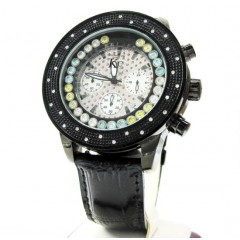 Techno Com Kc Black Stainless Steel Floating Bezel Diamond Watch 0.30ct