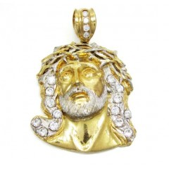 10k Yellow Gold Jesus Face Cz Pendant