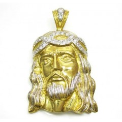 10k Two Tone Gold Xl Jesus Face Cz Pendant