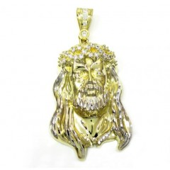 10k Two Tone Gold Jesus Face Cz Pendant