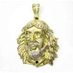 10k Two Tone Gold Jesus Face Cz Pendant