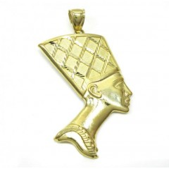 10k Yellow Gold Diamond Cut Nefertiti Medium Head Pendant
