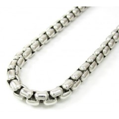 14k White Gold Box Link Chain 20-30 Inch 5mm