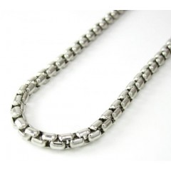 14k White Gold Box Link Chain 16-30 Inch 3.5mm
