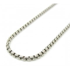 14k White Gold Box Link Chain 16-30 Inch 1.8mm