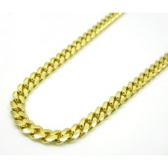 14k Yellow Gold Solid Tight Miami Link Chain 20-24 Inch 3.2mm