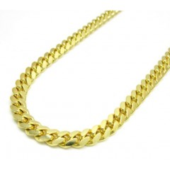14k Yellow Gold Solid Tight Miami Link Chain 20-26 Inch 4.8mm