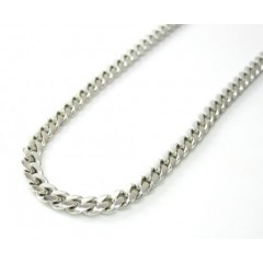 14k White Gold Solid Tight Miami Link Chain 18-24 Inch 3.2mm