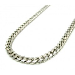 14k White Gold Solid Tight Miami Link Chain 20 Inch 3.8mm
