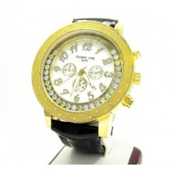 Techno Com Kc Yellow Stainless Steel Floating Bezel Diamond Watch 0.50ct