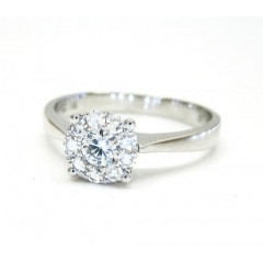 Ladies 18K White Gold Halo Diamond Engagement Ring 0.32CT