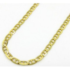 10k Yellow Gold Solid Diamond Cut Tight Mariner Link Chain 24 Inch 2mm