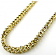 10k Yellow Gold Solid Diamond Cut Franco Link Chain 20-26 Inch 3mm