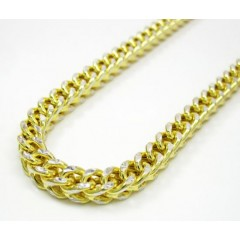 10k Yellow Gold Solid Diamond Cut Franco Link Chain 26-40 Inch 4.5mm