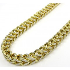 10k Yellow Gold Solid Diamond Cut Franco Link Chain 22-40 Inch 3.5mm