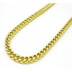 10k Yellow Gold Solid Diamond Cut Franco Link Chain 30-40 Inch 5.2mm