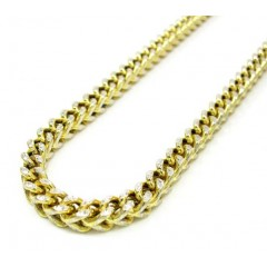 10k Yellow Gold Solid Diamond Cut Franco Link Chain 30 Inch 4.3mm