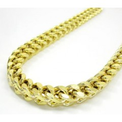 10k Yellow Gold Solid Franco Link Chain 36 Inch 5.5mm