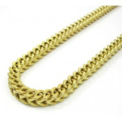 10k Yellow Gold Solid Franco Link Chain 36 Inch 7mm