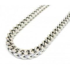 10k White Gold Solid Franco Link Chain 36 Inch 5mm