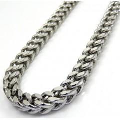 10k White Gold Diamond Cut Franco Link Chain 26-40 Inch 5mm